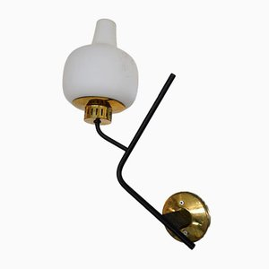 Italian Brass & Frosted Glass Sconces from Stilnovo, Italy, 1950s, Set of 2