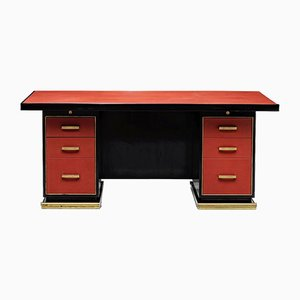 French Leather & Brass Desk by Paul Dupre-Lafon, 1950s