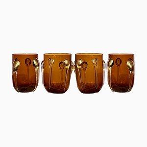 Bicchieri Dorato in vetro di Murano di Luca Vestidello per Ribes, 2003, set di 4