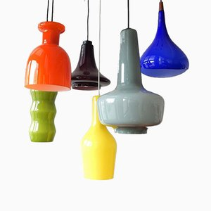 Mid-Century Colored Ceiling Lamps, Set of 6