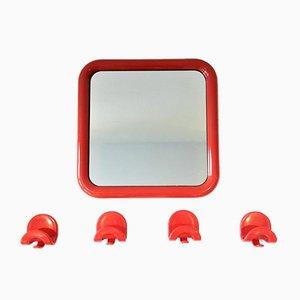Vintage Gioela Mirror & Matching Hooks by Giorgina Castiglioni for Bilumen, Italy, 1970s, Set of 5