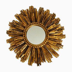 Specchio da parete grande Mid-Century a forma di sole in legno placcato in oro, anni '50