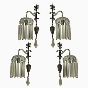Edwardian Silver-Plated Wall Lights, Set of 4