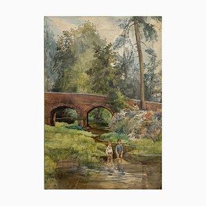 Dipinto Young Boys Before the Bridge di Alfred Emile Revillon, anni '20