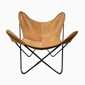 Butterfly Chair in Cognac Leather by Jorge Ferrari-Hardoy for Knoll Inc. / Knoll International, 1960s