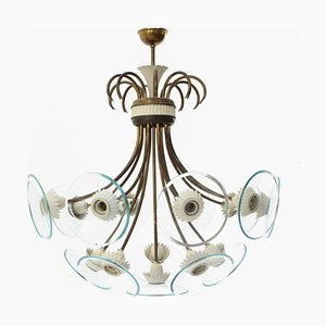 Lampadario in ottone e vetro a 16 luci, anni '50
