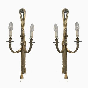 Antique Neoclassical Gilded Bronze Sconces, Set of 2