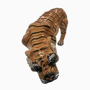 Vintage Hand-Painted Ceramic Tiger, 1970s