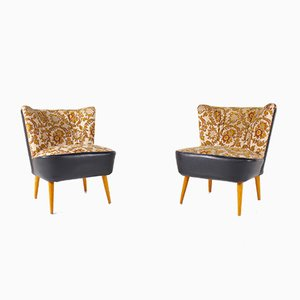 Cocktail Chairs in Brocaded Fabric, 1960s, Set of 2