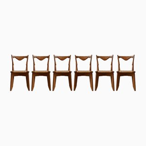 French Rush Dining Chairs from Guillerme et Chambron, 1960s, Set of 6