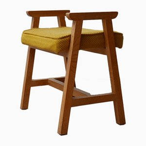 Mid-Century French Oak Stool from Guillerme et Chambron, 1960s