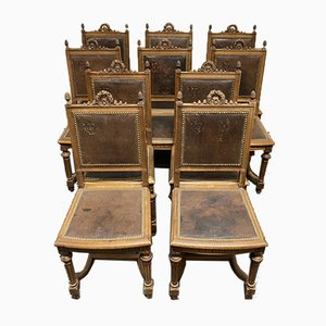 French Walnut Dining Chairs, Set of 10