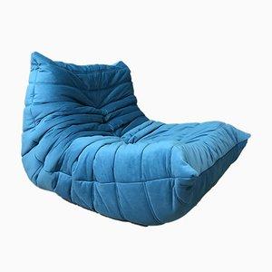 Vintage Blue Togo One-Seater Sofa by Michel Ducaroy for Ligne Roset