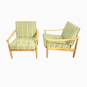 Wood and Green & Yellow Striped Upholstery Armchairs by Carl Straub for Goldfeder, Germany, 1960s, Set of 2