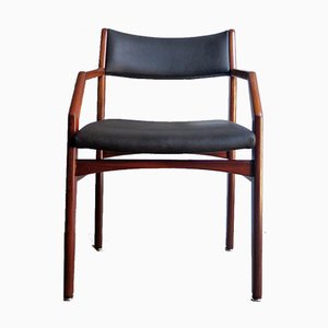 Vintage Wood and Black Leatherette Armchair, 1950s