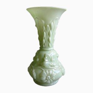 Grand Vase Art Nouveau en Verre Vert Clair, France, 1900s