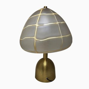 Vintage Gold Brass & Glass Round Table Lamp from Esperia