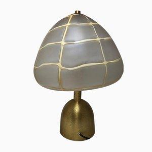 Vintage Runde Tischlampe aus Messing & Glas von Esperia