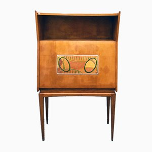Mid-Century Bar Cabinet in Wood with Hand-Painted Decoration, 1950s