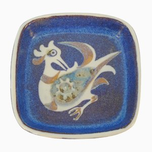 Danish Faience Ceramic Baca Bowl with Chicken by Nils Thorsson for Royal Copenhagen, 1960s