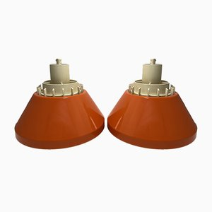 Mid-Century Danish Orange Ceiling Lamps from Lyskær Belysning, Set of 2