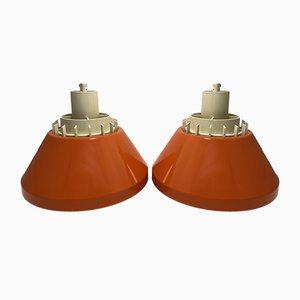 Orangefarbene Dänische Mid-Century Deckenlampen von Lyskær Belysning, 2er Set