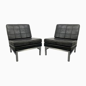 Vintage Black Leather & Chrome Steel Frame Lounge Chair, Germany, 1970s