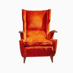 Vintage Italian Wood & Velvet Lounge Chair, 1940s