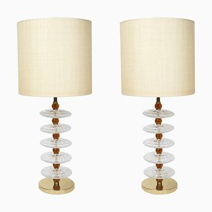 Murano Glass Table Lamps in the Style of Gino Cenedese, 1980s, Set of 2