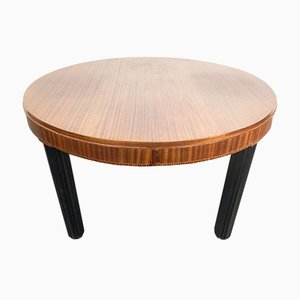 Art Deco Oval Sapele Mahogany Top, Ebonized Legs, Geometrically Inlaid Edge Dining Table, Vienna, 1920s