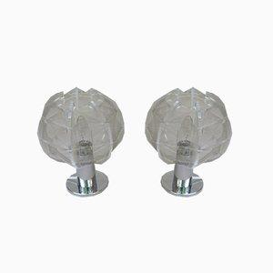Kleine Verchromte Mid-Century Tischlampen aus Plexiglas von Paul Secon für Sompex, 2er Set