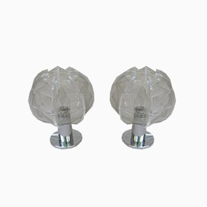 Small Mid-Century Chrome-Plated & Plexiglas Table Lamps by Paul Secon for Sompex, Set of 2