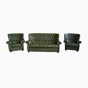 English Chesterfield Sofa & Chairs from Springvale, 1990s, Set of 3