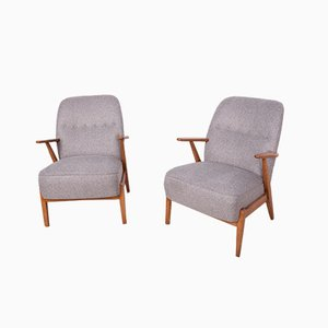 Mid-Century Grey Swedish Armchairs, 1970s, Set of 2