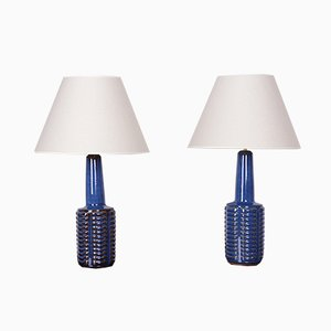 Blue Stoneware Table Lamps by Einar Johansen for Søholm, 1960s, Set of 2