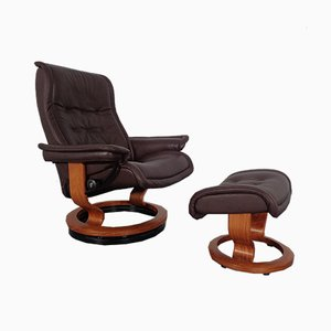 Vintage Royal Lounge Chair & Ottoman from Stressless, Norway, Set of 2