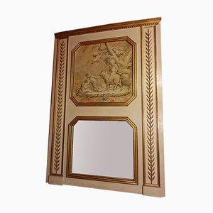 Louis XVI cremefarben und gold lackierter Holz Spiegel