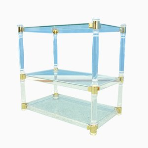 France Plexiglass & Glass Side Table, 1970s