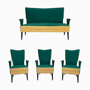 Italian Loveseat, Sofa & Chairs, 1950s, Set of 4