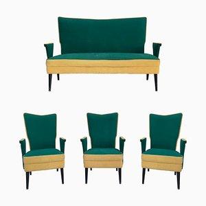 Italienisches Loveseat, Sofa & Stühle, 1950er, 4er Set