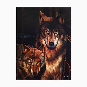 Pittura di lupi di Eric Scott, olio su tela