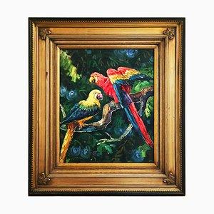 Pittura con pappagalli, olio su tela