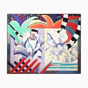 Pintura Streamer Screamer de Richard Frank, óleo sobre lienzo, años 80