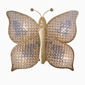 Butterfly Crystal on Brass Sconce from Palwa, 1970s