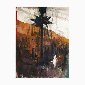 Chandelier Painting by Tibor Cervenak, Oil on Canvas