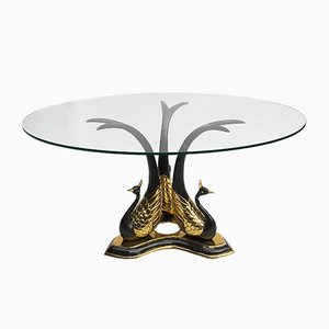 Hollywood Regency Brass Peacock Coffee Table, 1970s