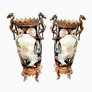 Große antike Vasen aus Keramik & Bronze, 2er Set