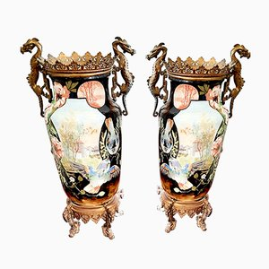 Large Antique Ceramic and Bronze Vases, Set of 2