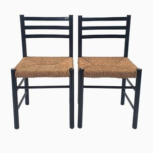 Modernist Black and Straw Side Chairs, 1950s, Set of 2