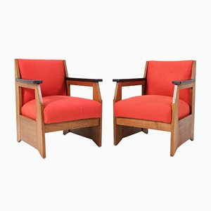 Oak Art Deco Hague School Lounge Chairs by Henk Wouda for Pander, 1924, Set of 2